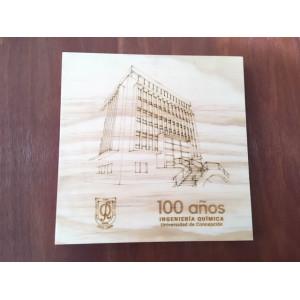Grabado sobre madera Edificio ICQ 30x30 cm