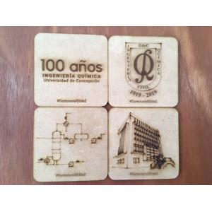 Set 4 Posavasos De Madera Grabado Logo DIQ